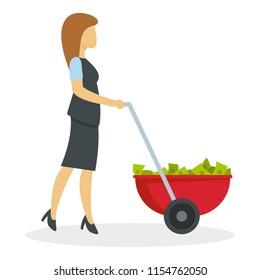 Business woman wheelbarrow money icon. Flat illustration of business woman wheelbarrow money icon for web design