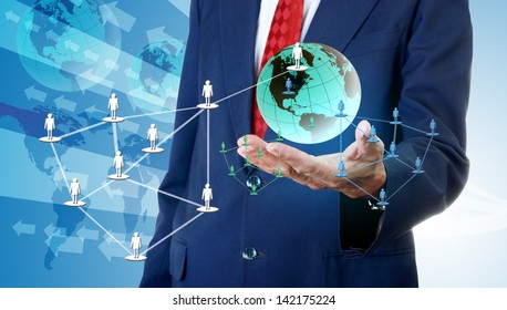 Businessman accessing global social network, Network business concept