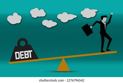 Businessman is balancing with debt, 3D rendering