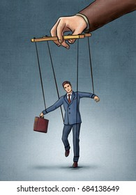 Businessman being pulled by strings like a puppet. Digital illustration, created from scratch with no reference used.