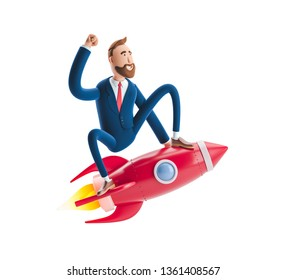 Businessman Billy flying on a rocket up. 3d illustration. Concept of  business startup, launching of a new company.