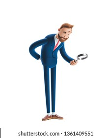 Businessman Billy looking through magnifying glass. 3d illustration