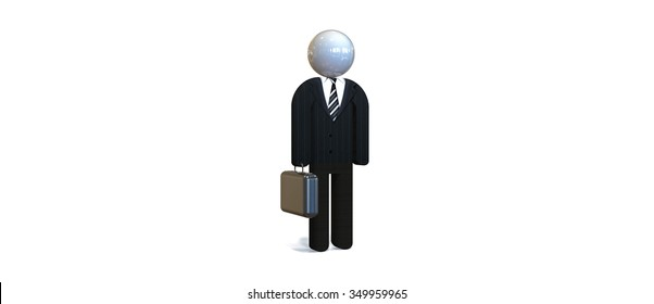 businessman in black suit and suitcase / Businessman