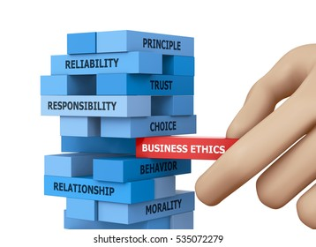 Businessman Building BUSINESS ETHICS Concept with Wooden Blocks 3d rendering