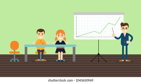 Businessman in business suit and tie making presentation near whiteboard with infographics. Audience at conference hall. Business seminar, conference meeting, office training, coaching concept