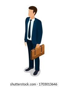 Businessman cartoon character. Elegant young man in business suit. isolated on white background. illustration in flat style raster version