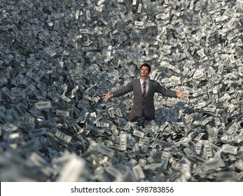 businessman in the center of a money avalanche, 3d illustration