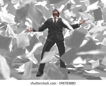 businessman in the center of a paper storm, 3d illustration