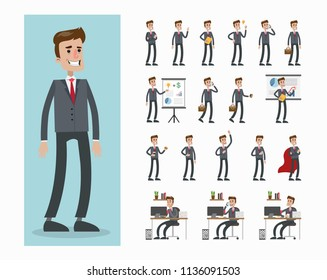 Businessman character set. At office, with briefcase and more.