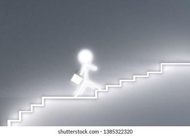 Businessman climb up stairs.