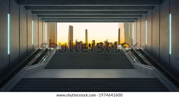 Businessman climbing stairs from underground upward to modern urban city. Ambitions concept. 3d rendering