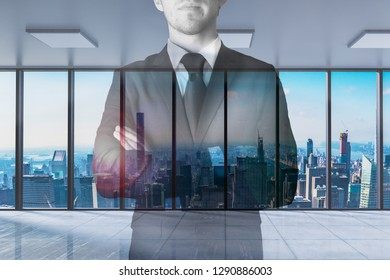 businessman crossed arms in modern office with skyline view 3D Illustration