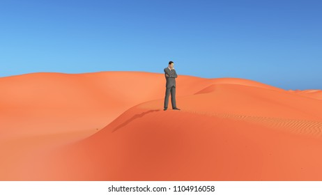 Businessman in the desert Computer generated 3D illustration