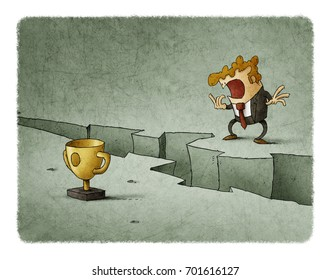 Businessman doubting jumping a crack to reach his goal