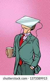 Businessman drinking coffee and watching tablet virtual reality. Pop art retro comics cartoon  illustration kitsch drawing