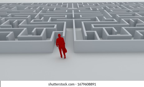 Businessman entrance  the maze. Concepts of finding a solution, problem solving, challenge etc. 3D illustration.