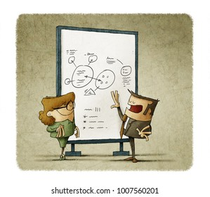 businessman is explaining to a businesswoman notes on board
