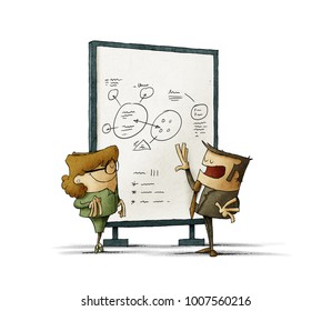 businessman is explaining to a businesswoman notes on board. isolated