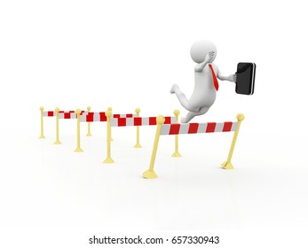 Businessman failing to jump over a hurdle obstacle. 3d render