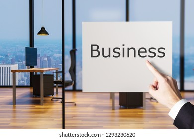 businessman finger pointing at billboard in clean office workplace business, 3D illustration