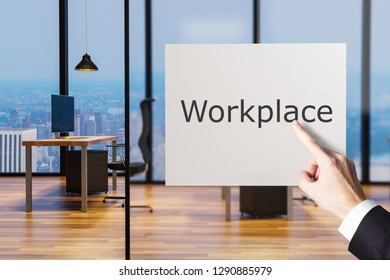 businessman finger pointing at billboard large clean office workplace, 3D illustration