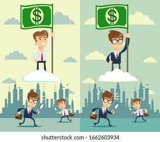 businessman with flag. Stock flat  illustration.