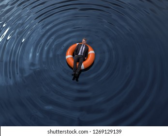 businessman are floating on the rescue buoys, aerial view, 3d illustration