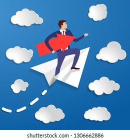 businessman flying in paper airplane with directional arrow along his way under arm to his goal. The concept of a charismatic man going to his pipe dream