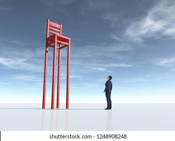 Businessman in front of a long leg chair. Aspiration concept. This is a 3d render illustration