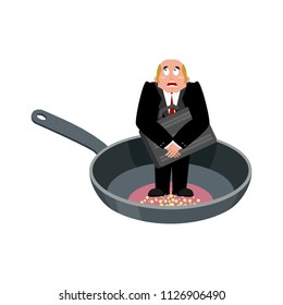 Businessman in frying pan. sinner in cauldron. boss is frying on hellfire. Religion is punishment for sins