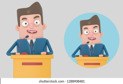 Businessman giving a meeting. Isolated. 3D illustration