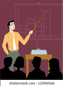 A businessman giving a sales presentation