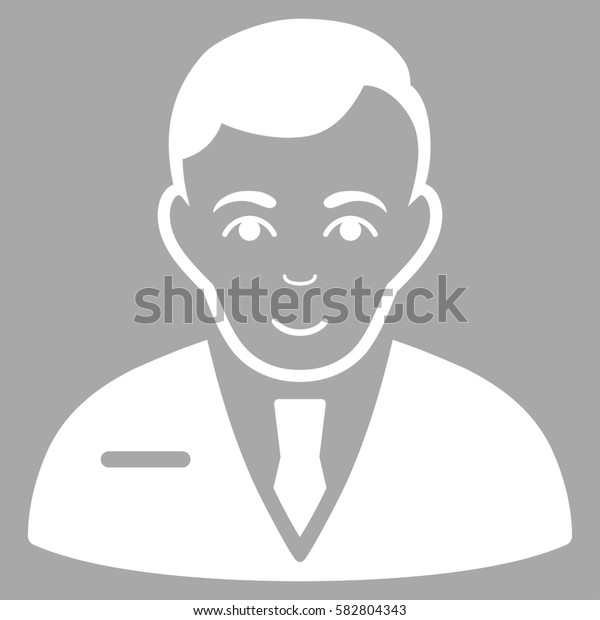 Businessman glyph icon. Flat white symbol. Pictogram is isolated on a silver background. Designed for web and software interfaces.