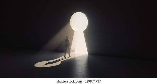 Businessman goes through the keyhole. 3D rendering.