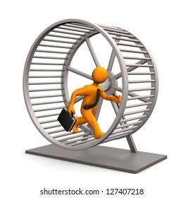 Businessman in the hamster running wheel. White background.