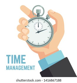 Businessman hand holding stopwatch or clock. Deadline, punctuality and time management business concept. Timer and punctuality, deadline stopwatch, productivity and optimization illustration