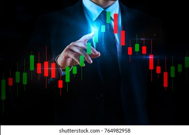Businessman hand pointing at abstract forex chart on dark background. Economy and trader concept. 3D Rendering