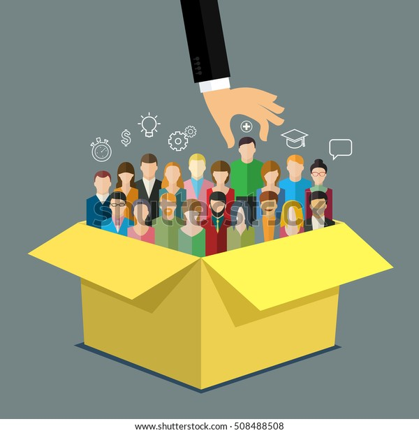 Businessman hand pointing at man in box with people. Business concept of personnel selection, hiring or recruitment. Flat design