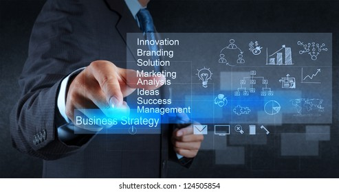 businessman hand points to business strategy diagram as concept