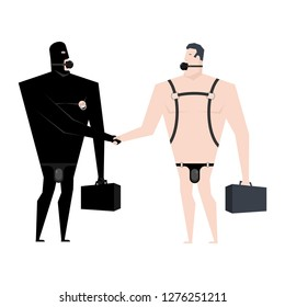 Businessman handshake BDSM slave. Boss Leather bandage. Sexy games for adults. Subordination and domination. Gag sex toys