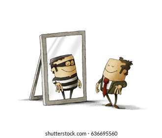 Businessman has been reflected as a thief in a mirror. isolated, white background.