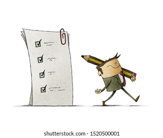 businessman has finished filling out a questionnaire and leaves with a large pencil on his shoulder. isolated
