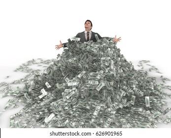 businessman in a heap of money, 3d illustration