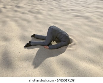 businessman hiding his head in the sand, 3d illustration