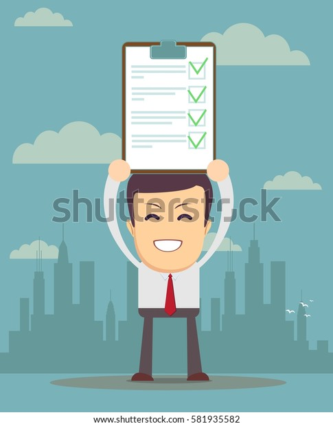 businessman holding business contract or agreement paper