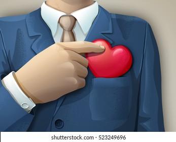 Businessman holding an heart shape between its fingers. Digital illustration.