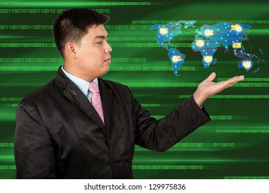Businessman holding social network and Message