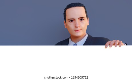 businessman holding white panel presenting display page 3D illustration