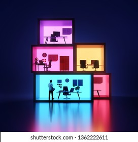 A businessman inside an office - Stacked and luminous office workplaces. Workplace 3D illustration.