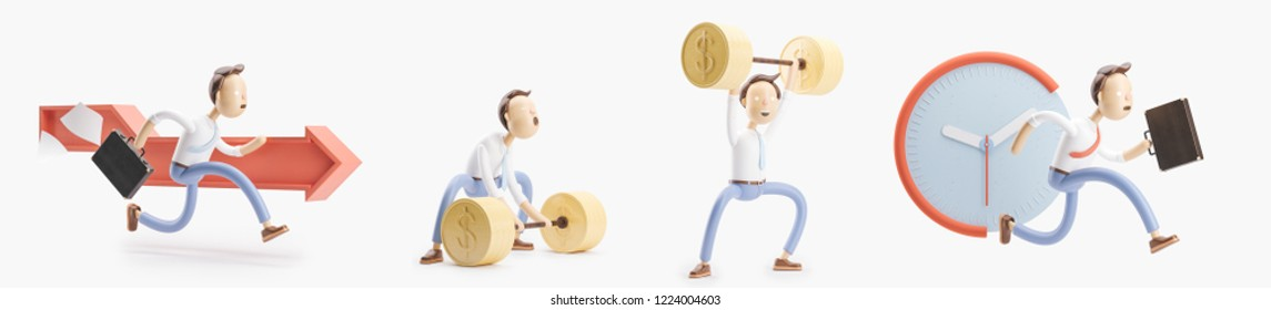 Businessman Jimmy is in a hurry. set of 3d illustrations.